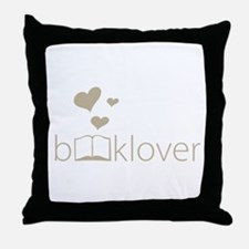 Book Lover - floating hearts - tan Throw Pillow