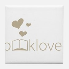 Book Lover - floating hearts - tan Tile Coaster