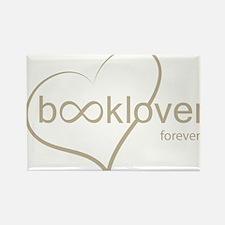 Book Lover Forever - tan Rectangle Magnet