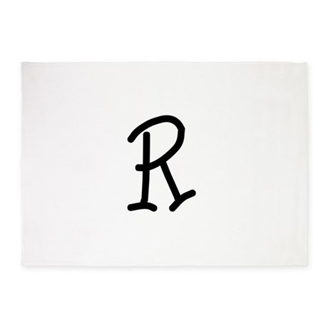 Bookworm Monogram R 5'x7'Area Rug