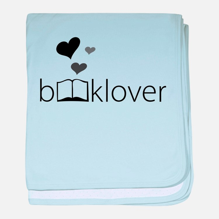 Book Lover - floating hearts - b/w baby blanket