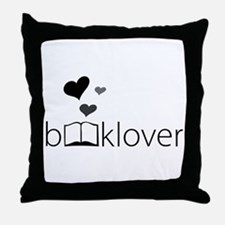 Book Lover - floating hearts - b/w Throw Pillow