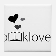 Book Lover - floating hearts - b/w Tile Coaster