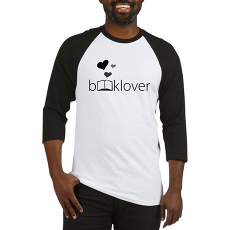 Book Lover - floating hearts - b/w Baseball Jersey