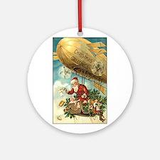 Santa's Christmas Airship - Vintage Ornament (Roun