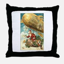 Santa's Christmas Airship - Vintage Throw Pillow