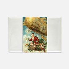 Santa's Christmas Airship - Vintage Rectangle Magn