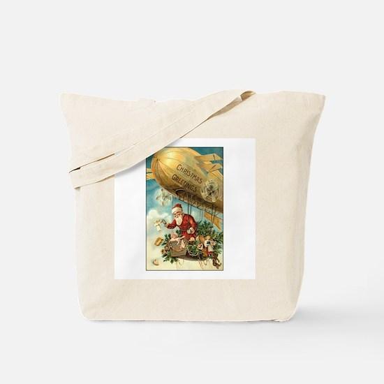Santa's Christmas Airship - Vintage Tote Bag