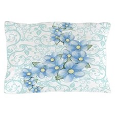 baby blue flowers Pillow Case