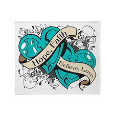 Cervical Cancer Hope Dual Heart Throw Blanket