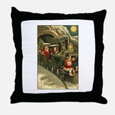 Santa's Victorian Christmas Train Throw Pillow