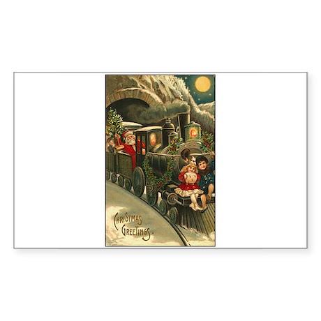 Santa's Victorian Christmas Train Sticker (Rectang