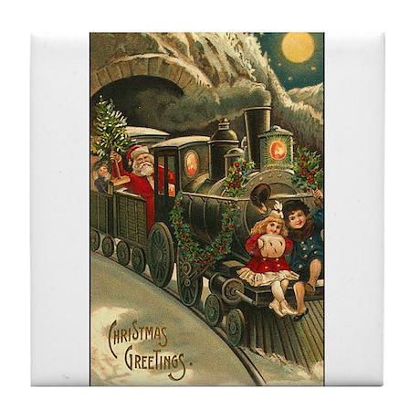 Santa's Victorian Christmas Train Tile Coaster