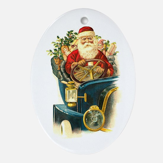 Vintage Santa Claus in a Classic Car Ornament (Ova