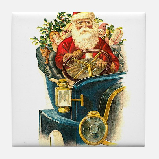 Vintage Santa Claus in a Classic Car Tile Coaster