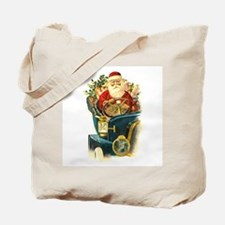 Vintage Santa Claus in a Classic Car Tote Bag