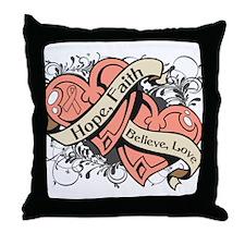 Endometrial Cancer Hope Dual Heart Throw Pillow