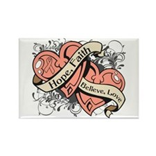 Endometrial Cancer Hope Dual Heart Rectangle Magne