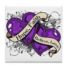 Epilepsy Hope Dual Heart Tile Coaster