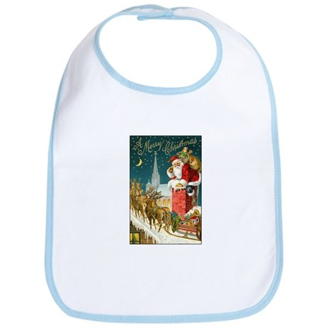 Santa Down the Chimney Bib
