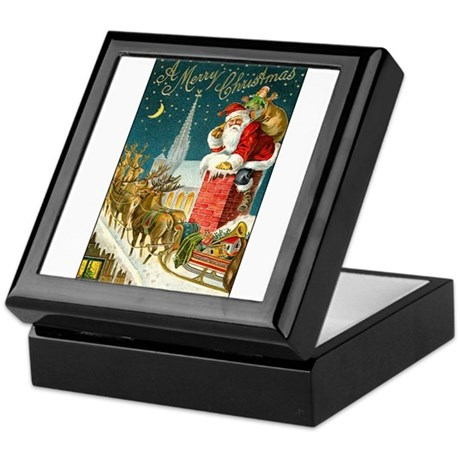 Santa Down the Chimney Keepsake Box