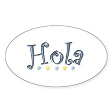 Hola -Hi- Oval Decal