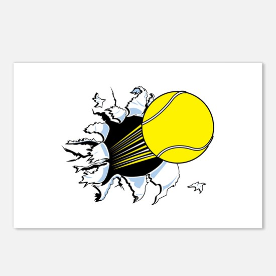 Tennis Ball Ripping Through Postcards (Package of