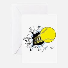 Tennis Ball Ripping Through Greeting Cards (Packag
