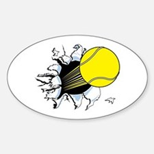 Tennis Ball Ripping Through Oval Decal