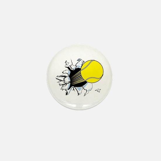 Tennis Ball Ripping Through Mini Button