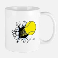 Tennis Ball Ripping Through Mug