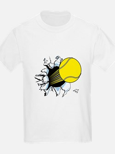 Tennis Ball Ripping Through Kids T-Shirt