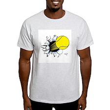 Tennis Ball Ripping Through Ash Grey T-Shirt