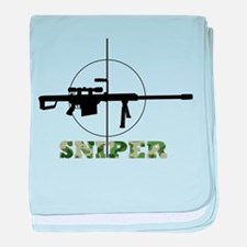 Army sniper rifle baby blanket