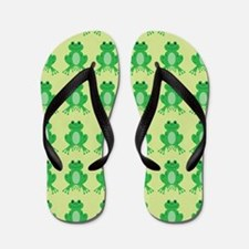 Happy Green Frogs Flip Flops