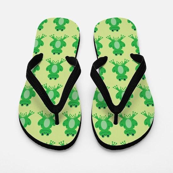 Happy Green Frogs Flip Flops