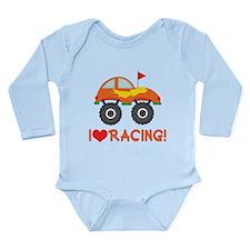 I Heart Racing Long Sleeve Infant Bodysuit