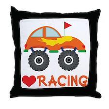 I Heart Racing Throw Pillow