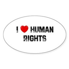I * Human Rights Oval Decal