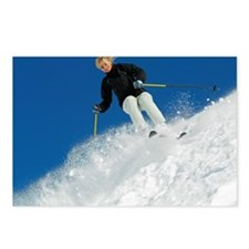 Woman snow skiing Postcards (Package of 8)
