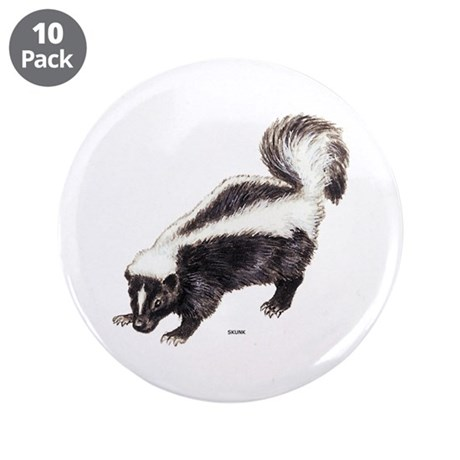 "Skunk Animal 3.5"" Button (10 pack)"