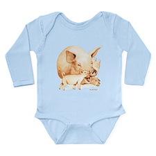 Pig and Piglet Long Sleeve Infant Bodysuit