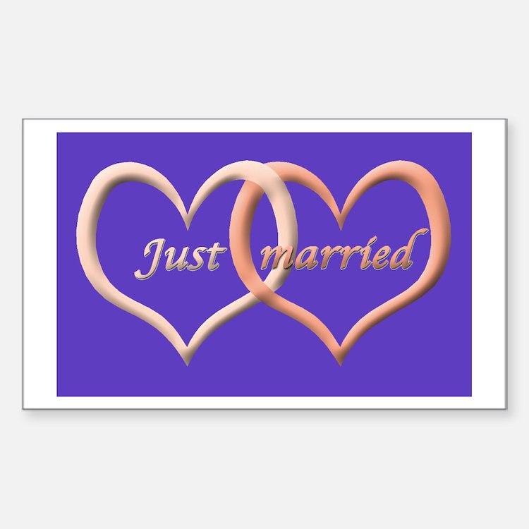 Just Married interlocking hearts Sticker (Rectangu