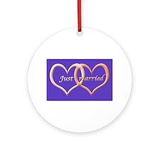 Just Married interlocking hearts Ornament (Round)