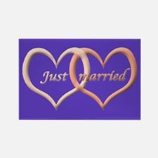 Just Married interlocking hearts Rectangle Magnet