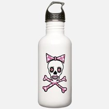 Cute Girly goth punk skull with pink love heart bo