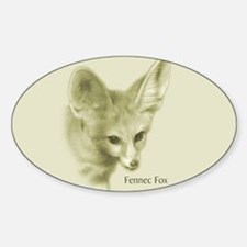 Antiqued Fennec Fox Oval Decal