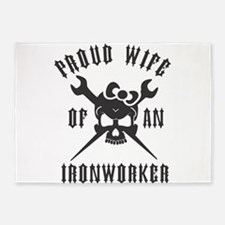 IRONWORKER WIFE LOGO BLACK 5'x7'Area Rug