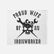 IRONWORKER WIFE LOGO BLACK Throw Blanket