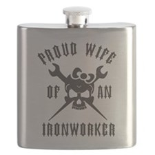 IRONWORKER WIFE LOGO BLACK Flask